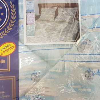 drap plat + drap housse + 2 taies pour lit de 2 personnes - flanelle - paysage ciel