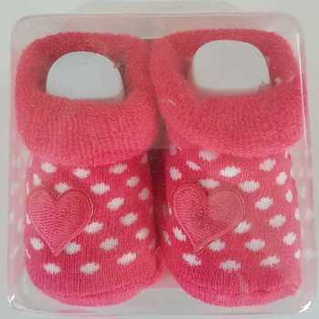 chaussettes bébé fuschia coeur en boîte