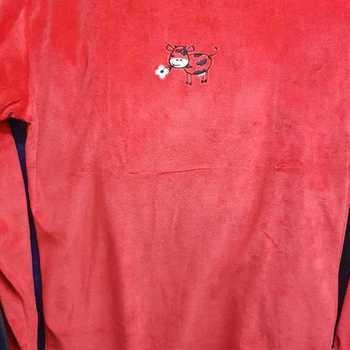 pyjama velours rasé pour filles de 8 à 16 ans - broderie : vache en rouge EN PROMO - reste 10 ans - 14 ans - 16 ans