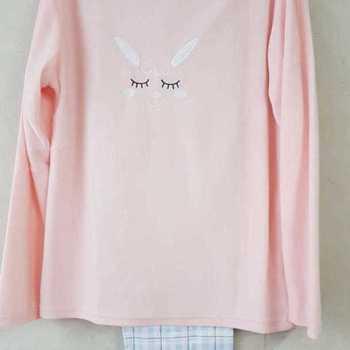 pyjama veste polaire saumon pantalon flanelle # saumon pour fille - lama - 14 ans