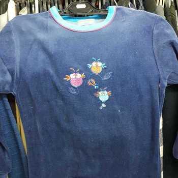 pyjama velours rasé pour fille - bleu lavande foncé 3 oiseaux - reste 10 ans