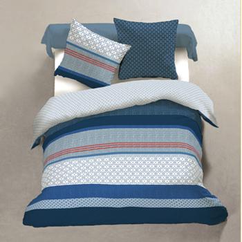 drap plat + drap housse + 1 taie 100% coton pour lit d'1 personne - marine lignes