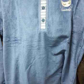 pyjama velours rasé pour dame - night - bleu foncé - reste XL - XXL