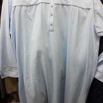 robe de nuit cotelé poly-coton pour dame - grandes tailles - ciel - 3XL 4XL