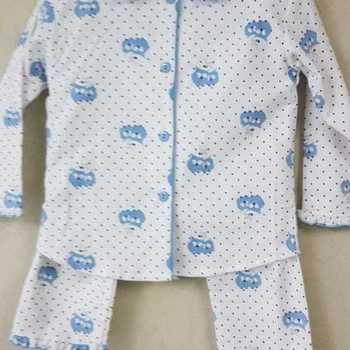 pyjama boutonné flanelle pour filles - hiboux ciel - reste 2 ans 4 ans 5 ans