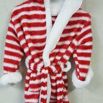 peignoir doux & chaud avec cape pour enfant - ligné rouge - reste 2/4 ans