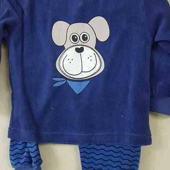 pyjama velours rasé chien bleu foncé - reste 2 ans 3 ans 5 ans 6 ans
