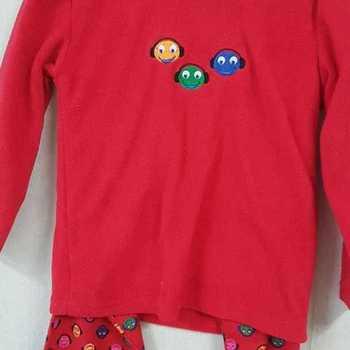 pyjama veste polaire pantalon flanelle - smileys - rouge - reste 5 ans 6 ans