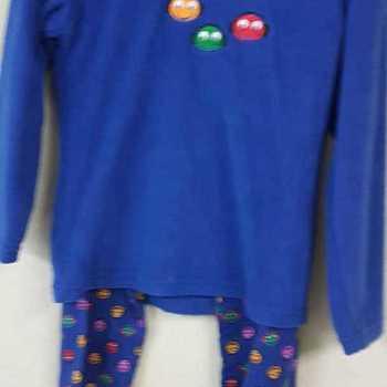 pyjama veste polaire pantalon flanelle - smileys - bleu - reste 5 ans