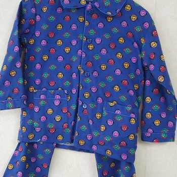 pyjama boutonné flanelle smiley bleu bic reste 3 ans en PROMO