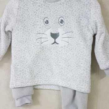 pyjama polaire fluffy écru - reste 2 ans 5 ans 6 ans