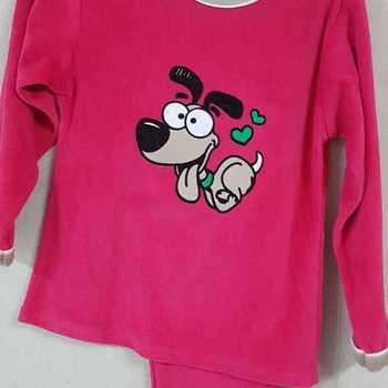pyjama velours rasé chien love fuschia reste 6 ans