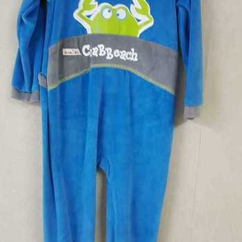 pyjama velours rasé crabe bleu - 2 ans