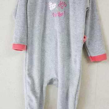 pyjama velours rasé gris saumon - 2 ans