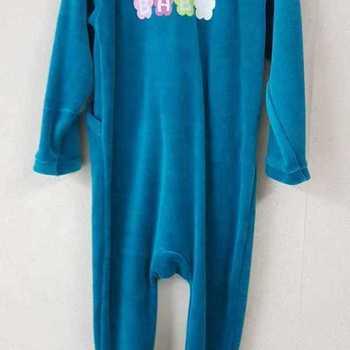 pyjama velours rasé fleurs pétrole - 2 ans