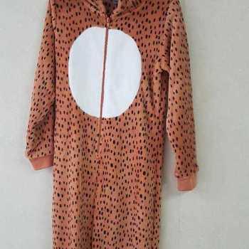 pyjama 1 pièce ou onesie polaire fluffy - raton rouille - reste 8 ans
