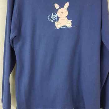 pyjama veste coton lourd + pantalon flanelle pour dame - lapin - bleu - reste L