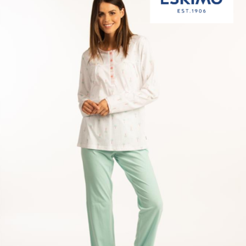 pyjama coton jersey boutonné pour dame - ambretta - turquoise - reste M - XL - XXL - 3XL - 4XL à partir de