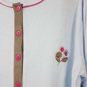 pyjama cotelé avec liseraie fuschia - ciel - reste S