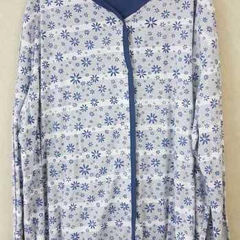 pyjama boutonné coton jersey - qualité belge - bleu jeans - reste 4XL