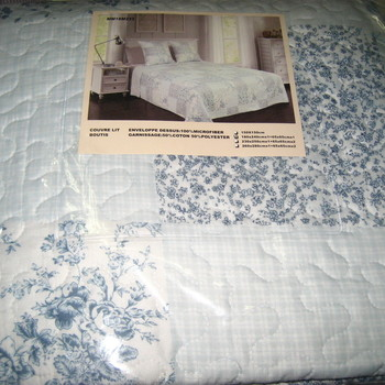 couvre-lit boutis imprimé + 1 taie assorti pour lit d'1 personne - ciel