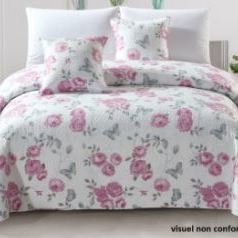 couvre-lit boutis fleuré pour lit d'1 personne - fleurs rose