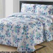 couvre-lit boutis fleuré pour lit de 2 personnes - fleurs bleu