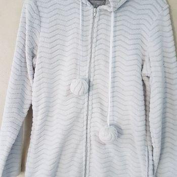 veste polaire fluffy avec capuche pour dame - gris - reste S