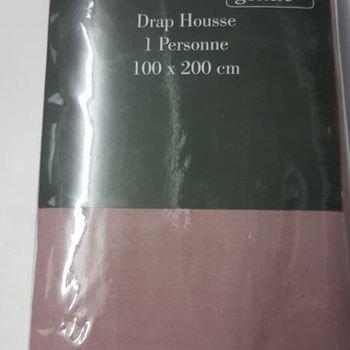 drap housse 100% coton gentle pour lit d'1 personne - vieux rose