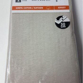 drap housse coton jersey pour lit d'1 personne - dourev - beige
