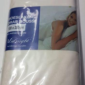 drap housse 100% coton midnight pour lit d'1 personne - écru