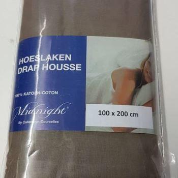 drap housse 100% coton midnight pour lit d'1 personne - marron