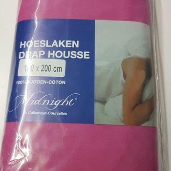 drap housse 100% coton midnight pour lit d'1 personne - rose moyen