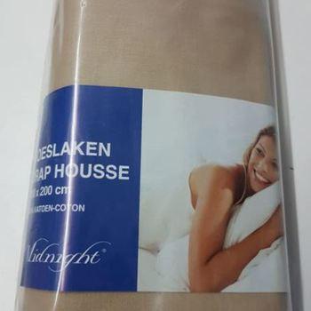 drap housse 100% coton midnight pour lit d'1 personne - taupe