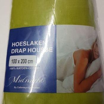 drap housse 100% coton midnight pour lit d'1 personne - vert