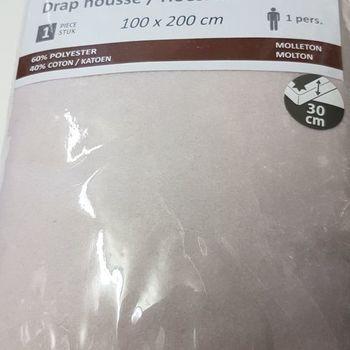 drap housse strech molletonné pour lit d'1 personne - dourev - beige clair