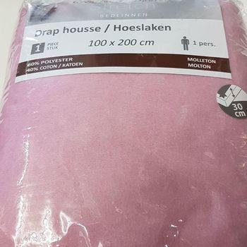 drap housse strech molletonné pour lit d'1 personne - dourev - rose chaud