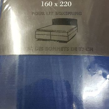 drap housse 100% coton pour lit de 2 personnes - 1.60*2m - boxspring profondeur 37cm bic