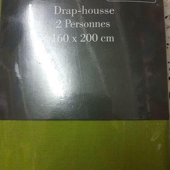 drap housse 100% coton pour lit de 2 personnes - 1.60*2m - gentle - vert