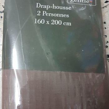 drap housse 100% coton pour lit de 2 personnes - 1.60*2m - gentle - beige lilas