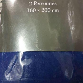 drap housse 100% coton pour lit de 2 personnes - 1.60*2m - gentle - bic