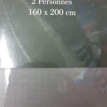 drap housse 100% coton pour lit de 2 personnes - 1.60*2m - gentle - gris