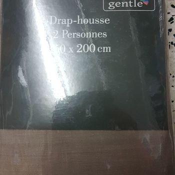 drap housse 100% coton pour lit de 2 personnes - 1.60*2m - gentle - taupe2