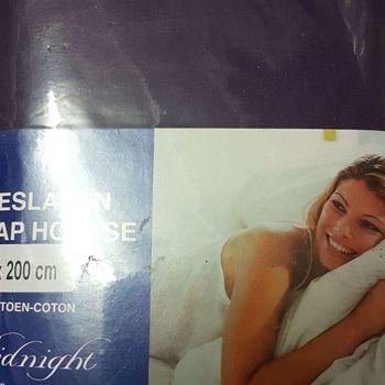 drap housse 100% coton pour lit de 2 personnes - 1.60*2m - midnight - prune
