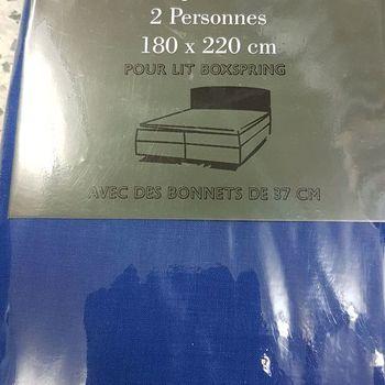 drap housse 100% coton pour lit extra grand 1.80*2.20m - profondeur 37cm boxspring - bic