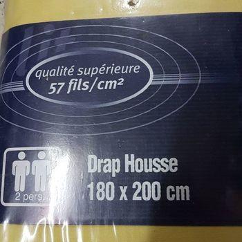 drap housse 100% coton pour lit extra grand 1.80*2m - dourev jaune