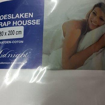 drap housse 100% coton pour lit extra grand 1.80*2m - midnight blanc