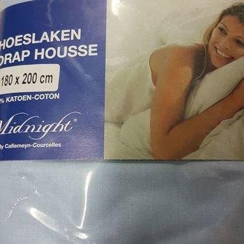 drap housse 100% coton pour lit extra grand 1.80*2m - midnight ciel