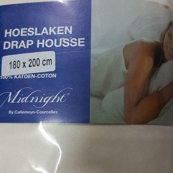 drap housse 100% coton pour lit extra grand 1.80*2m - midnight écru