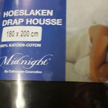 drap housse 100% coton pour lit extra grand 1.80*2m - midnight noir